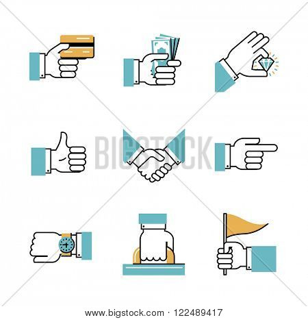 Collection of business flat line icons. Premium quality icons. Set of hand icons. Vector illustration