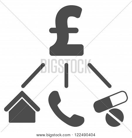 Life Pound Expenses vector icon. Life Pound Expenses icon symbol. Life Pound Expenses icon image. Life Pound Expenses icon picture. Life Pound Expenses pictogram. Flat life pound expenses icon.