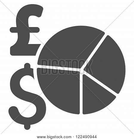 Pound and Dollar Pie Chart vector icon. Pound And Dollar Pie Chart icon symbol. Pound And Dollar Pie Chart icon image. Pound And Dollar Pie Chart icon picture. Pound And Dollar Pie Chart pictogram.
