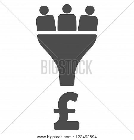 Pound Sales Funnel vector icon. Pound Sales Funnel icon symbol. Pound Sales Funnel icon image. Pound Sales Funnel icon picture. Pound Sales Funnel pictogram. Flat pound sales funnel icon.