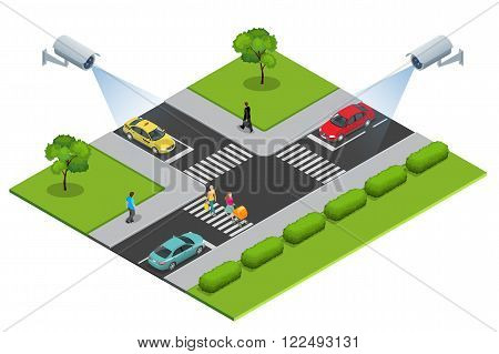 Security camera detects the movement of traffic. CCTV security camera on isometric illustration of traffic jam with rush hour. Traffic 3d isometric vector illustration. Traffic monitoring CCTV poster