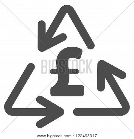 Recycling Pound Cost vector icon. Recycling Pound Cost icon symbol. Recycling Pound Cost icon image. Recycling Pound Cost icon picture. Recycling Pound Cost pictogram. Flat recycling pound cost icon.
