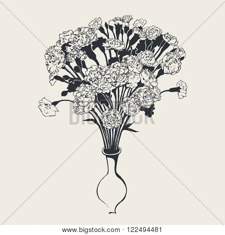 A bouquet of carnations, hand-drawn graphic illustration, vector