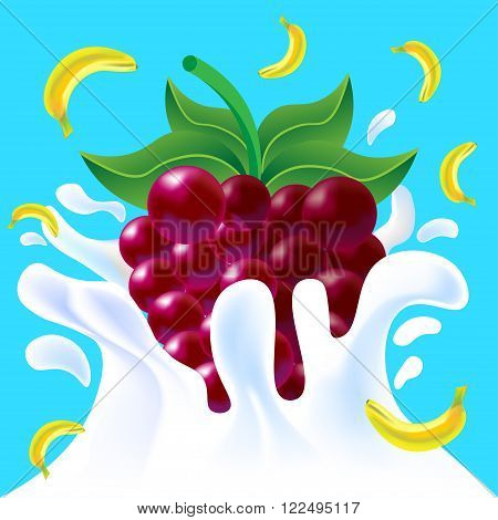 Banana And Raspberry In Yoghurt