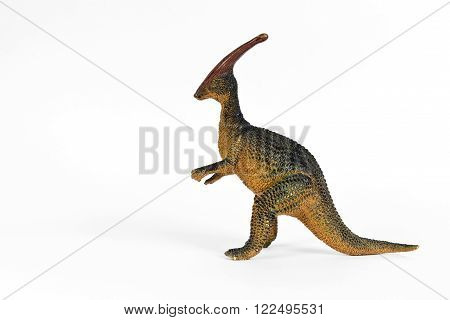 Retro Rubber Model Parasaurolophus Dinosaur on White Background