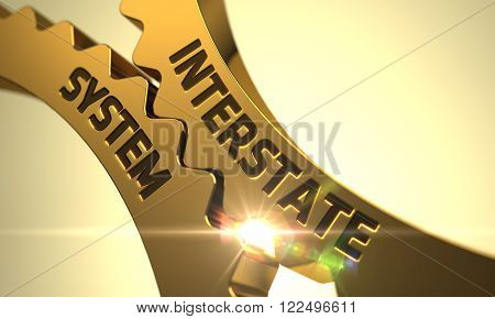 Interstate System on Mechanism of Golden Gears with Lens Flare. Interstate System - Illustration with Glow Effect and Lens Flare. Interstate System Golden Metallic Cogwheels. 3D Render.