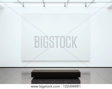 Photo blank white empty wall contemporary gallery. Modern open space expo with concrete floor. Place for business information.