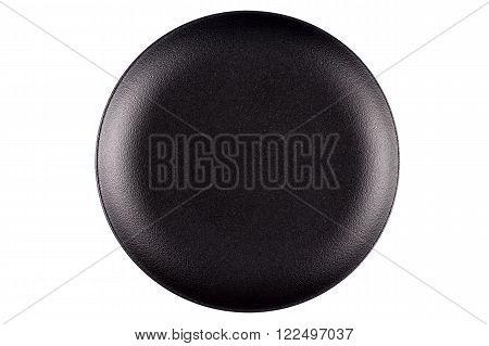 Empty Black Stoneware Plate