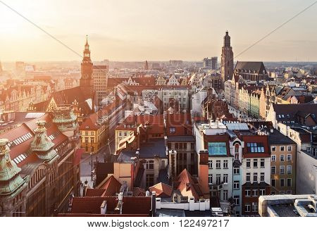 Panorama of the city skyline at sunset Wroclaw Poland Europe.