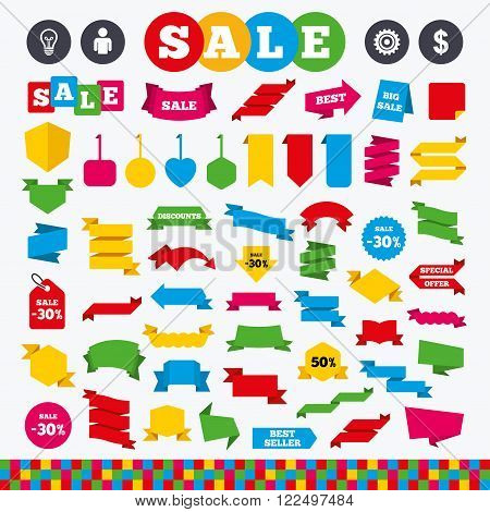 Banners, web stickers and labels. Business icons. Human silhouette and lamp bulb idea signs. Dollar currency and gear symbols. Price tags set.