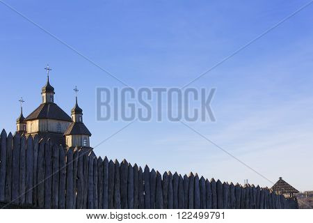 Church in the ancient fortress against the sky. History ancient religion.