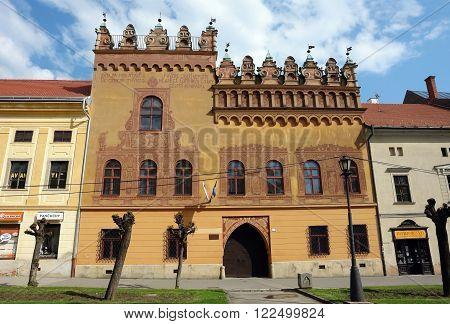 Levoca PRESOV SLOVAKIA - MAY 01 2014: Street and old historical building with fresco in Levoca town Slovakia.