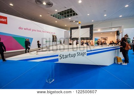 HANNOVER GERMANY - MARCH 14 2016: Startup Stage lecture hall of German Startup Association at CeBIT information technology trade show in Hannover Germany on March 14 2016.