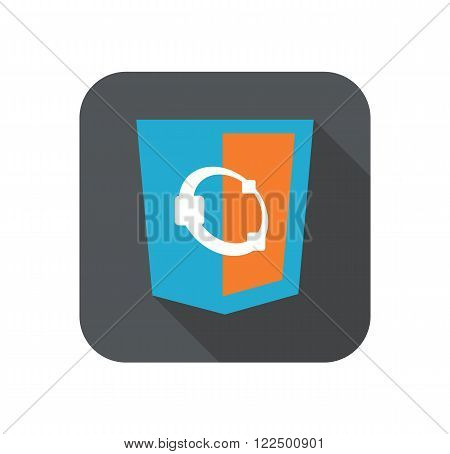 web develoment html5 shield sign - programming language pictogram white badge isolated long shadow
