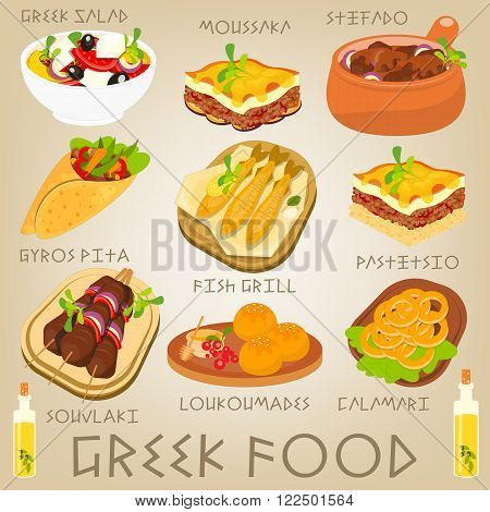 Greek Traditional Food Set. Greek Cuisine. Food Collection. Vector Illustration.