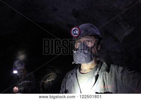 BARTIN,TURKEY-APRIL 5, 2014 : Unidentified Chinese mine workers began working in Turkey on April 5, 2014 in Bartin,Turkey