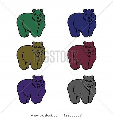 The image of the bear forest wild beast. Animal drawing with contour on a white background different shortcuts and symbols. Vector illustration (characters in the form of contours of a bear)