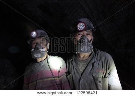 BARTIN,TURKEY-APRIL 5, 2014 : Unidentified Chinese mine workers began working in Turkey on April 5, 2014 in Bartin,Turkey.