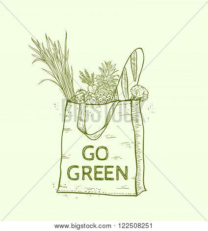 Reusable shopping eco bag with fresh food. Hand drawn vector illustration.