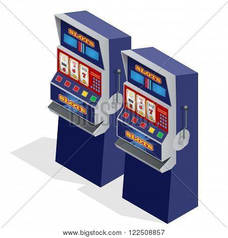 Casino Slot Machines. 3d flat isometric vector illustration