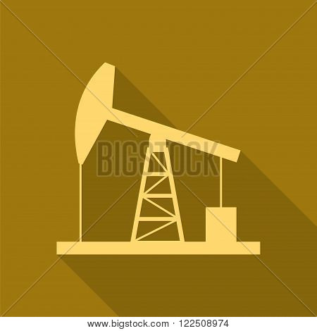 Gold oil derrick icon. Simple flat vector illustration EPS 10.