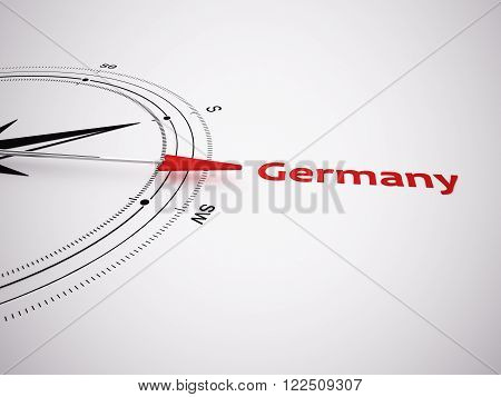 a 3d made compass focus on germany as keyword