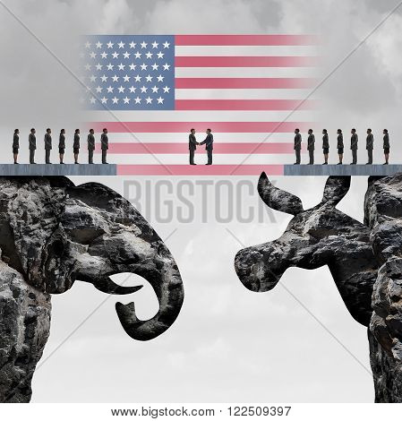Bipartisan agreement between the republican and democrat organiization as a symbol for a two party system with a flag of the United States connecting two mountain cliffs shaped as an elephant and donkey.