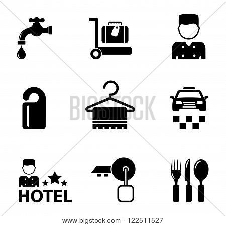 set of isolated black hotel icon services
