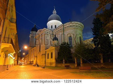 Church of Transfiguration in Lviv at night. Ukraine Lvov
