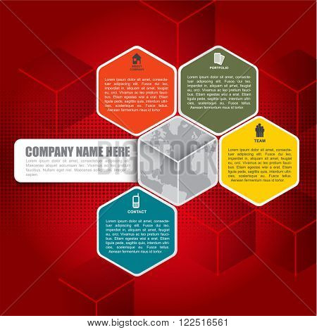 Abstract vector red infographic background with icons about company, portfolio, team, contact and place for text content