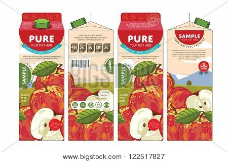 Template packaging design apple juice. Concept pack design of fruit juice. Abstract cardboard box for juice. Vector packaging of apple juice. Packaging elements of cardboard box template. Fruit apple juice