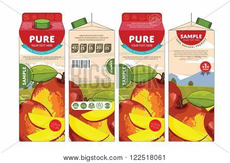 Template packaging design mango juice. Concept pack design of fruit juice. Abstract cardboard box for juice. Vector packaging of mango juice. Packaging elements of cardboard box template. Fruit mango juice