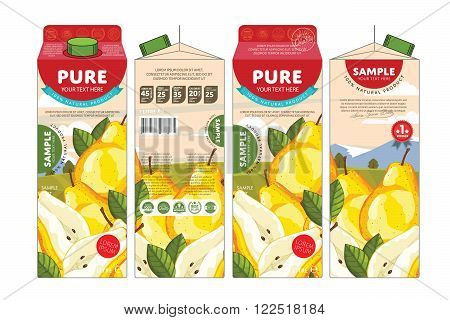 Template packaging design pear juice. Concept pack design of fruit juice. Abstract cardboard box for juice. Vector packaging of pear juice. Packaging elements of cardboard box template. Fruit pear juice