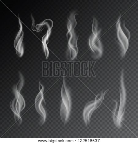 Smoke isolated. Vector smoke. Smoke on transparent background. Cigarettes smoke. Smoke set. 10 different isolated smoke. Smoke texture. Steam. Realistic smoke. Cigarette smoke waves. Isolated steam. Smoke.