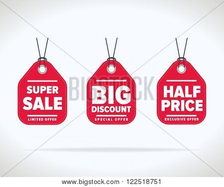 Sale tag vector isolated. Sale sticker with special advertisement offer. Sale tag template. Best price tag. Buy today tag. Special offer tag. Sale sticker. Special offer sale tag. Tag. Three red sale tag.