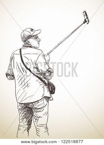 Sketch of man taking a selfie, Hand drawn illustration