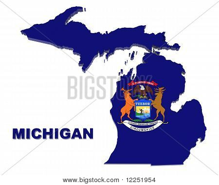 Michigan State, Map with Flag, Isolated on White