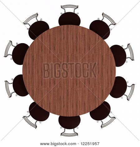 Round Table and Chairs, Top View, Isolated on White
