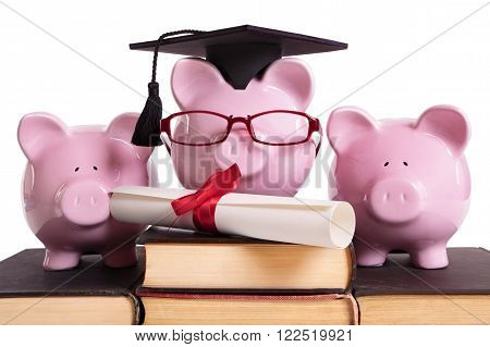 College student graduate graduation concept education success teaching graduating piggybank with glasses