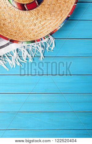 Mexican sombrero cinco de mayo background border vertical