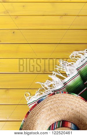 Mexican sombrero and traditional serape blanket mexico cinco de mayo festival concept