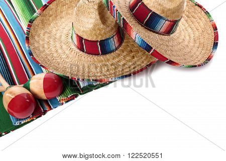 Mexican sombrero and maracas cinco de mayo festival isolated white background