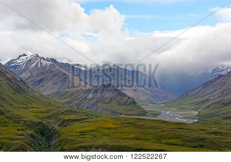 Storm Clouds over the Mountains near Eielson in Denali National Park in Alaska