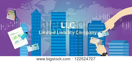 Acronym LLC as limited liability company vector concept
