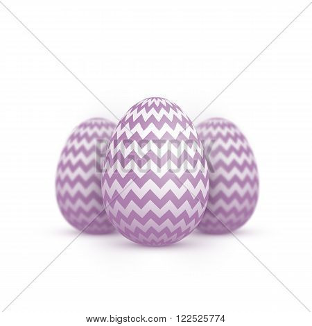 Illustration of Realistic Vector Easter Egg Icon. Painted Vector Egg Set Isolated on White Background with Shallow Depth of Field DOF Effect