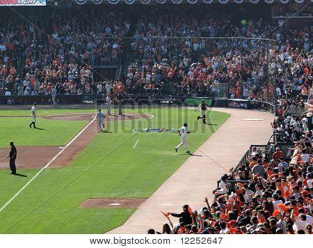 Giants Walk Towrds Dugout After Pitcher Matt Cain Strikes Out Batter