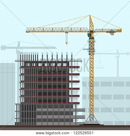 Tower crane on construction site background. Vector color illustration