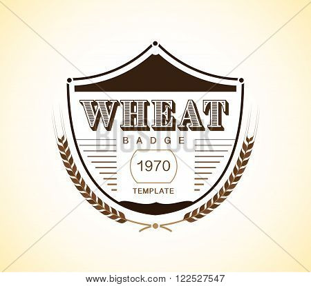 Vintage wheat badge design template. vector stock.