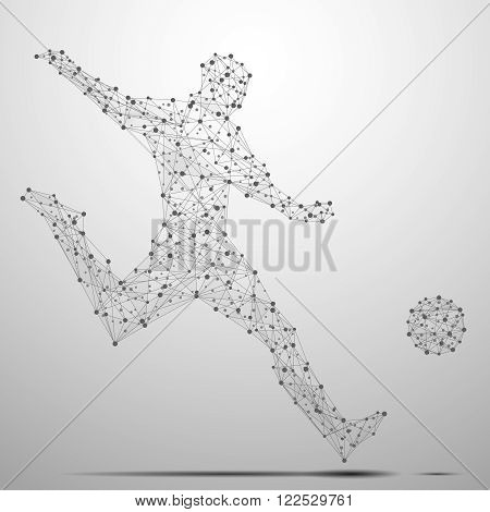 Wireframe cybernetic particles mesh polygonal vector football player. Network line, design football player silhouette, dot and structure illustration - stock vector