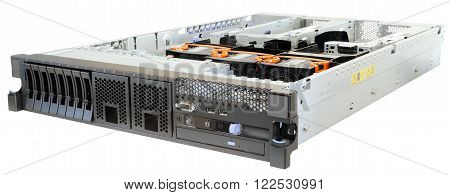 Rack mount server without top cover isometric view isolated on the white background